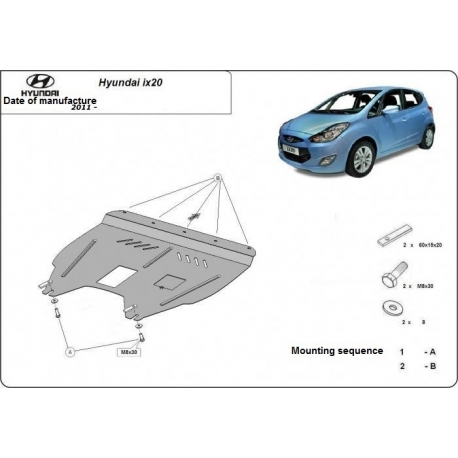Hyundai ix20 Unterfahrschutz 1.4, 1.6CRDi - Stahl