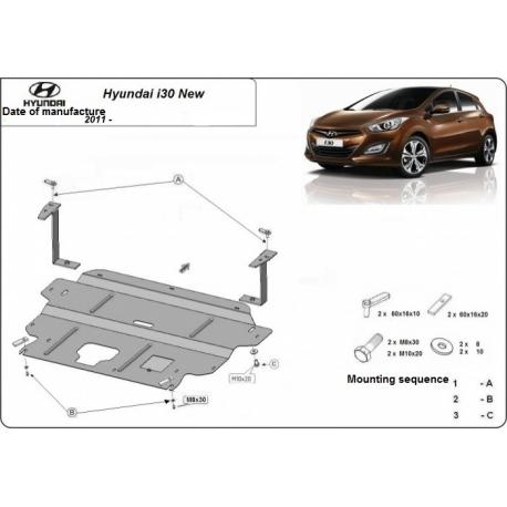 Hyundai i30 Unterfahrschutz 1.4, 1.5, 1.6 - Stahl