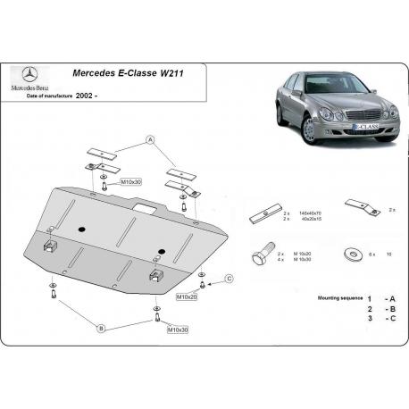 Mercedes E-Classe W211 Unterfahrschutz - Stahl