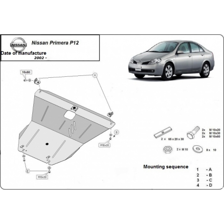 Nissan Primera P12 Unterfahrschutz 1.6, 1.8, 2.0 - Stahl