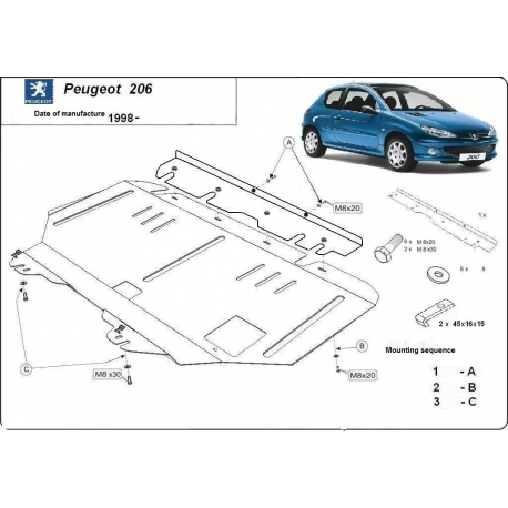 Peugeot 206 Unterfahrschutz 1.1, 1.4, 1.4D, 1.6, 2.0, 1.9D - Stahl