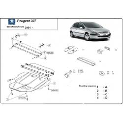 Peugeot 307 Unterfahrschutz 1.4, 1.4HDi, 1.6, 1.6HDi, 2.0, 2.0HDi - Stahl