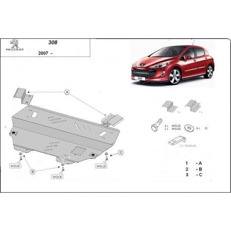 Peugeot 308 Unterfahrschutz 1.4, 1.4HDi, 1.6, 1.6HDi, 2.0, 2.0HDi - Stahl
