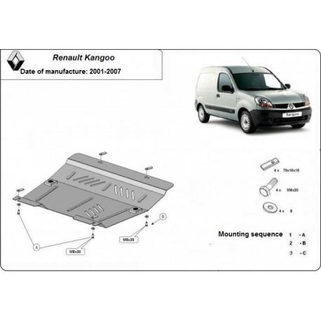 Renault Kangoo Unterfahrschutz 1.4, 1.5Dci, 1.8D, 1.9DTi - Stahl