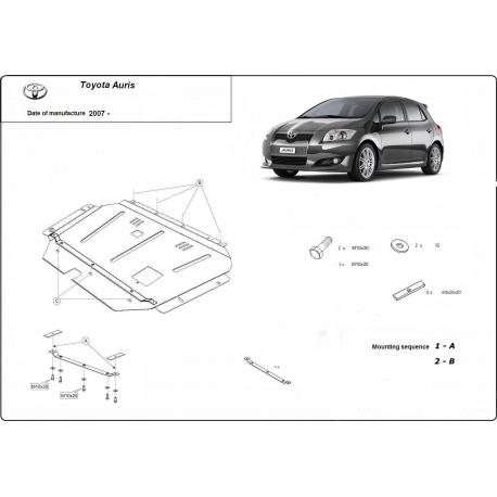 Toyota Auris Unterfahrschutz 1.4, 1.6, 1.8, 2.0D - Stahl