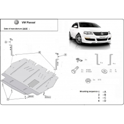 VW Passat New Unterfahrschutz 2.0TDi, 2.0TFSI quattro - Stahl