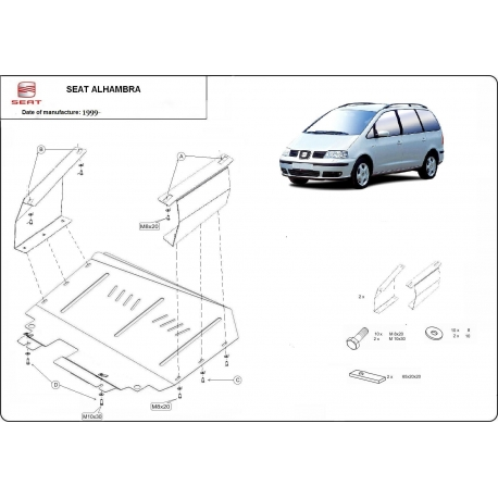 Seat Alhambra Unterfahrschutz 1.9, 2.0, 2.5TDi - Stahl
