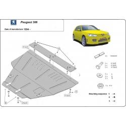 Peugeot 306 Unterfahrschutz 1.1, 1.4, 1.8, 1.9D, 2.0i - Stahl