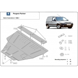 Peugeot Partner Unterfahrschutz 1.8, 1.9D, 1.9TD, 2.0HDi, 2.3JTD, 2.5TD - Stahl