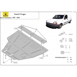 Renault Kangoo Unterfahrschutz 1.8, 1.9D, 1.9TD, 2.0HDi, 2.3JTD, 2.5TD - Stahl