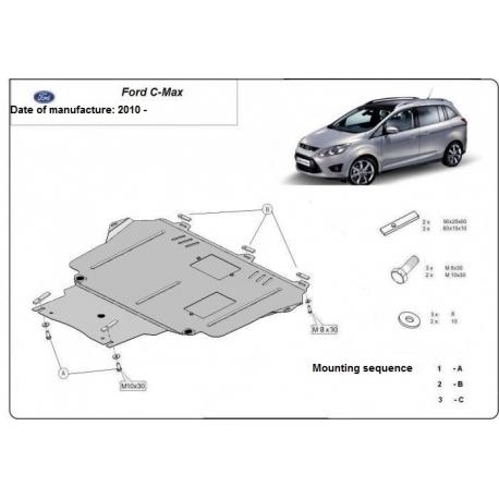 Ford C-Max Unterfahrschutz 1.4, 1.6, 1.6TD, 2.0, 2.0TD - Stahl