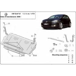 VW Golf 6 Unterfahrschutz 1.4, 1.6FSI, 1,6TDi - Stahl