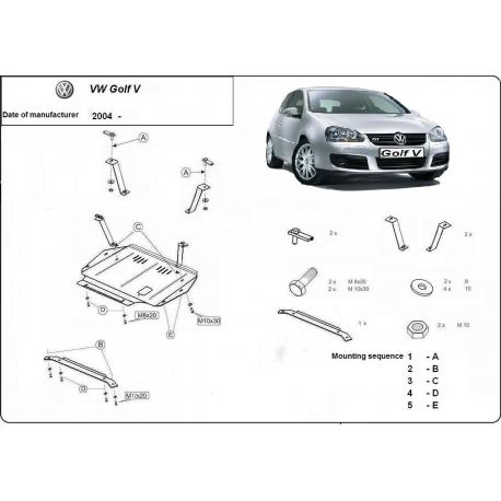 VW Golf 5 Unterfahrschutz 1.4, 1.6, 1.9TD, 2.0, 2.0TD - Stahl