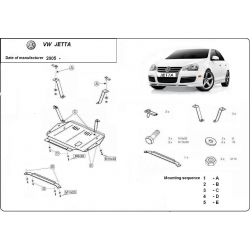 VW Jetta Unterfahrschutz 1.6, 1.9TD, 2.0, 2.0TD - Stahl