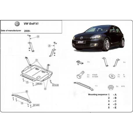 VW Golf 6 Unterfahrschutz 1.4, 1.6, 1.9TD, 2.0, 2.0TD - Stahl