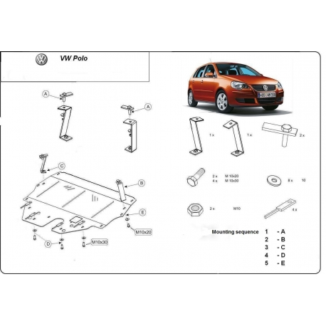 VW Polo New Unterfahrschutz 1.2, 1.4, 1.9TDi - Stahl