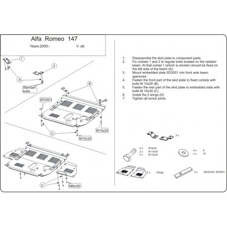Alfa Romeo 147 Motor und Getriebeschutz - Stahl
