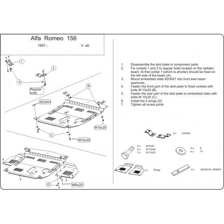 Alfa Romeo 156 Motor und Getriebeschutz - Stahl