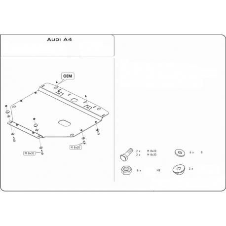 Audi A4 Unterfahrschutz 1.6, 1.8, 2.0 - Stahl