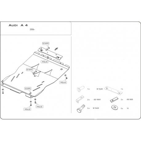 Audi A4 Quattro / S-Line Motor und Getriebeschutz 2.0 TDI, 2.0TFSI - Alluminium