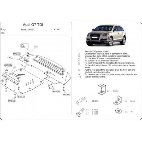 Audi Q7 Unterfahrschutz 3.0 TDI, 4.2 TDI - Alluminium