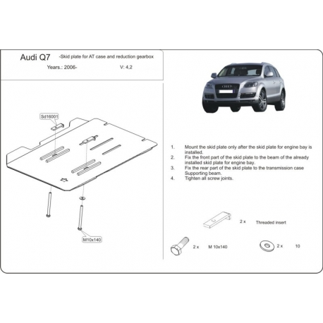 Audi Q7, S-Line Getriebeschutz 3.6 FSI, 4.2 FSI - Alluminium