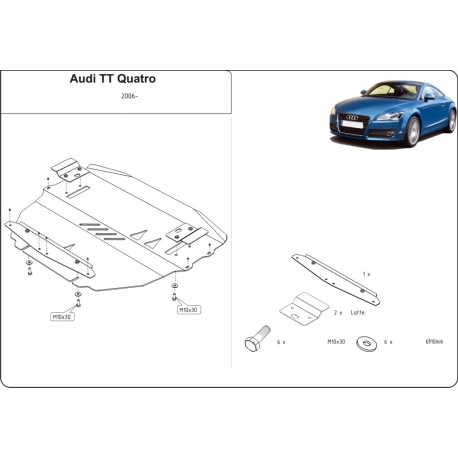 Audi TT Motor und Getriebeschutz 2.0 TFSI, 3.2 V6 - Alluminium