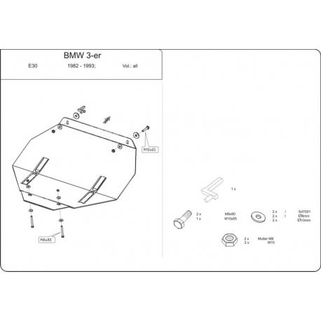 BMW E30 Unterfahrschutz 1.5, 1.6, 1.8 - Stahl