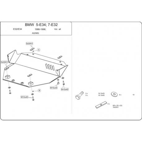 BMW E34 Unterfahrschutz außer 2.5 (4x4) - Stahl