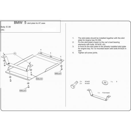 BMW E39 (Automaticgetriebe schutz) 2.0, 2.3, 2.5, 2.8 - Stahl
