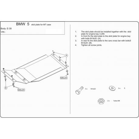 BMW E39 (Schaltgetriebeschutz) 2.0, 2.3, 2.5, 2.8 - Stahl