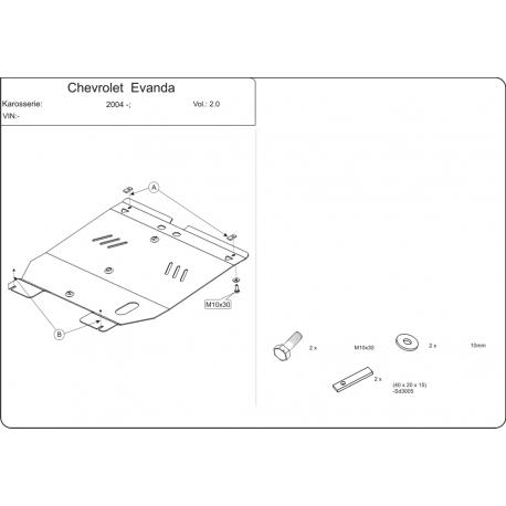 Chevrolet Evanda Motor und Getriebeschutz 2.0 - Stahl