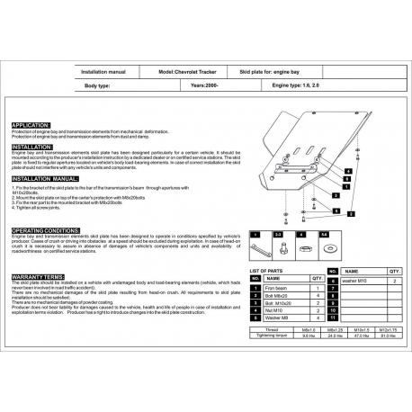 Chevrolet Tracker Getriebeschutz 1.6, 2.0 - Stahl