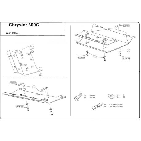 Chrysler 300 C Unterfahrschutz 5.7, 6.1 - Alluminium