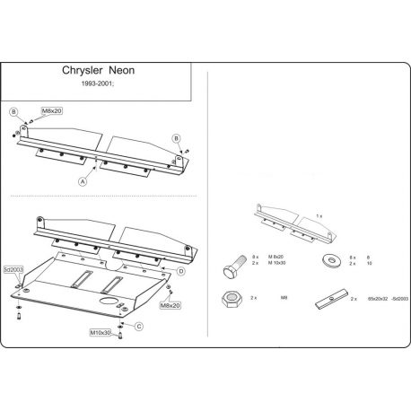 Chrysler Neon I Motor und Getriebeschutz 1.8, 2.0 - Stahl