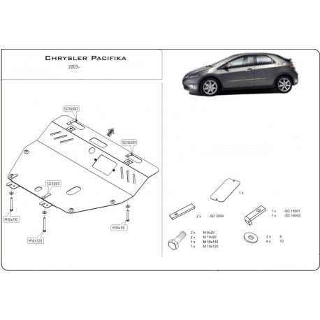 Chrysler Pacifika Motor und Getriebeschutz 3.5 - Stahl