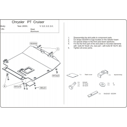 Chrysler PT Cruiser Motor und Getriebeschutz 1.6, 2.0, 2.2 CRD, 2.4 - Alluminium