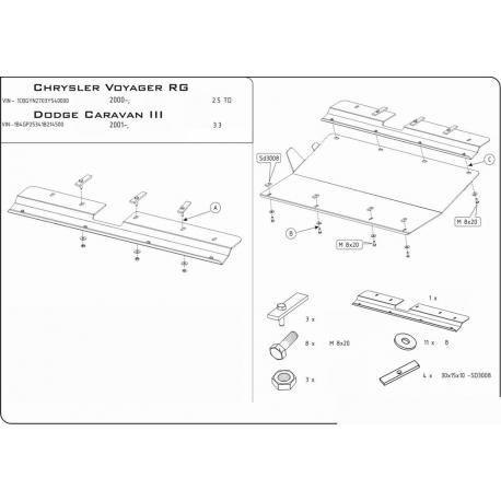 Chrysler Voyager Motor und Getriebeschutz - Stahl