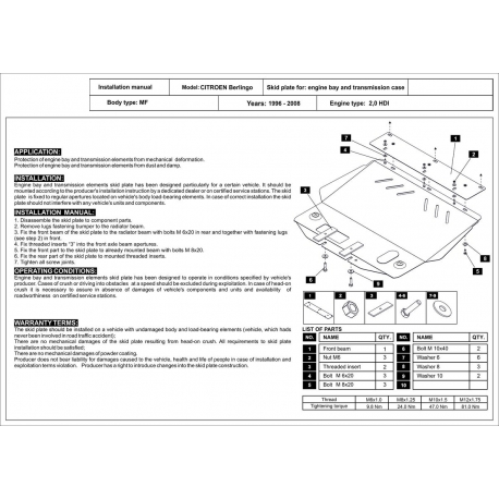 Citroen Berlingo Motor und Getriebeschutz 2.0 HDI - Stahl
