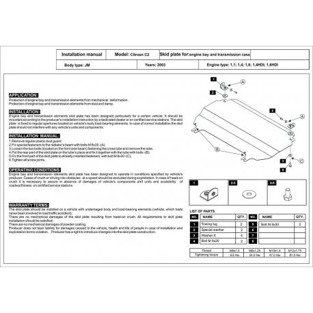 Citroen C3 Motor und Getriebeschutz - Stahl