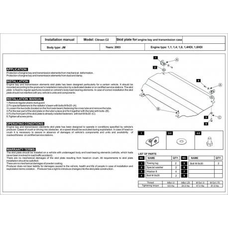 Citroen C3 Motor und Getriebeschutz - Alluminium