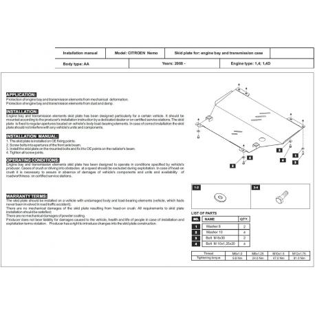 Citroen Nemo Motor und Getriebeschutz 1.4, 1.4 TD - Stahl