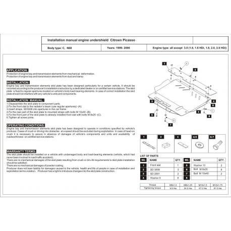 Citroen Xsara Picasso Motor und Getriebeschutz außer 3.0 - Stahl