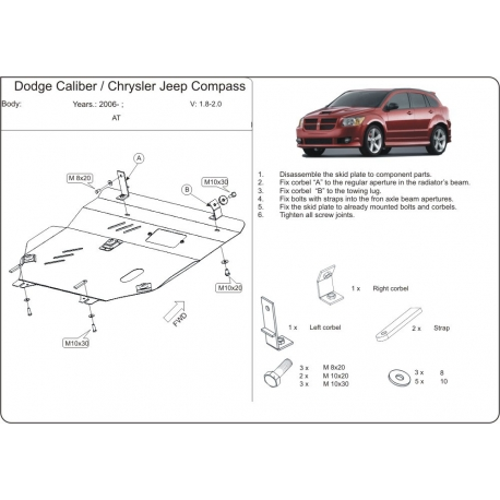 Dodge Caliber Motor und Getriebeschutz 1.8, 2. 0 - Stahl