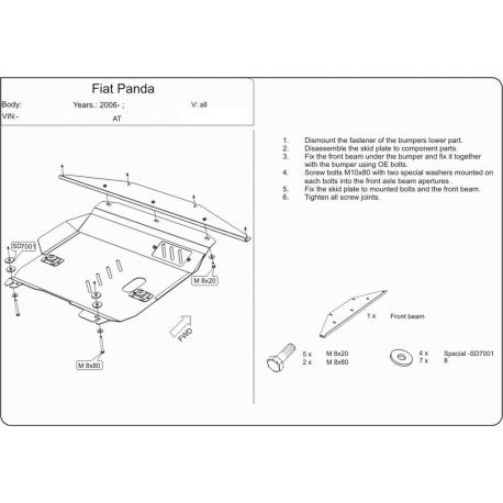 Fiat Panda Motor und Getriebeschutz 1.1, 1.2, 1.3D - Stahl