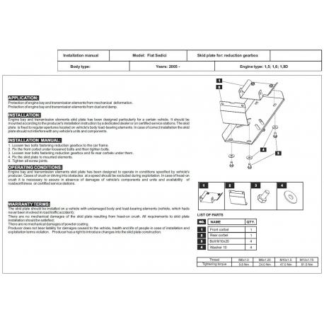 Fiat Sedici (Schutz für Differential der hinteren Achse) - Stahl