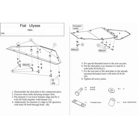 Fiat Ulysse Motor und Getriebeschutz 1.8,1.9JTD,2.0,2.1TD - Stahl