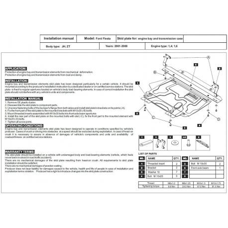 Ford Fiesta V Motor und Getriebeschutz 1.3, 1.4, 1.6, 2.0 - Stahl