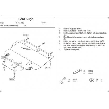 Ford Kuga Motor und Getriebeschutz 2.0D, 2.5 - Stahl