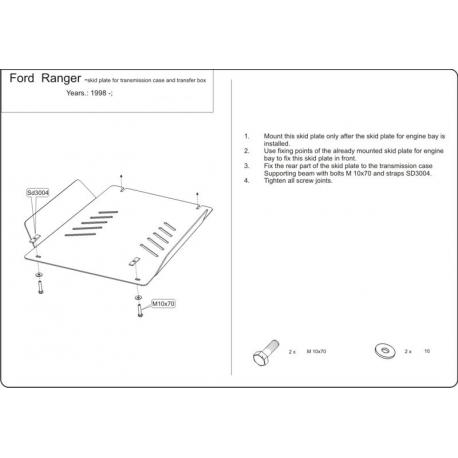 Ford Ranger Getriebeschutz 2.3, 2.5 D, 2.5 TD (4x4) - Stahl